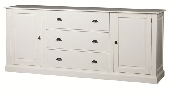 buffet bas pin monica 2 portes 3 tiroirs blanc l216 mobilier. Black Bedroom Furniture Sets. Home Design Ideas