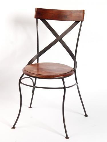 chaise bistrot bois et fer forge. Black Bedroom Furniture Sets. Home Design Ideas