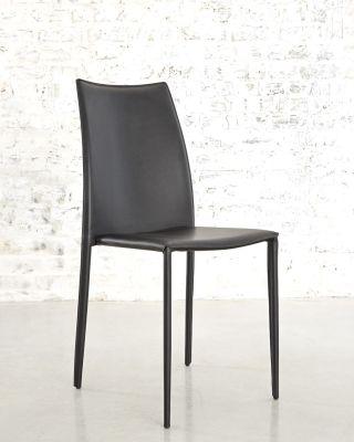 Chaise Cuir Recycle Et Metal Solene Noir