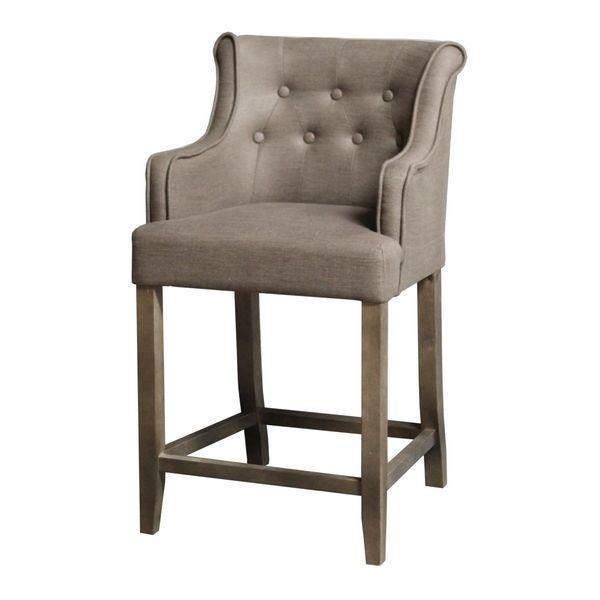 chaise de bar capitonn e teatro taupe accoudoirs h96 mobilier. Black Bedroom Furniture Sets. Home Design Ideas