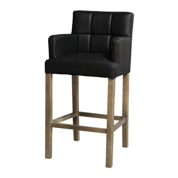 Chaise de bar haute kyo noir accoudoirs for Chaise cuisine avec accoudoir