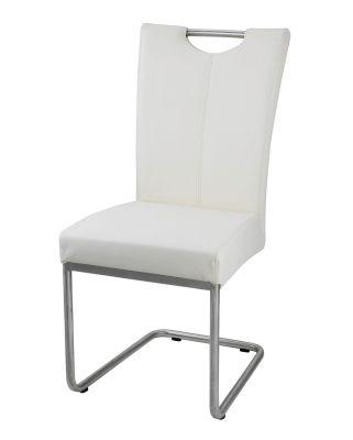 Chaise Design Inox Et Simili Cuir Toronto Blanc Mobilier