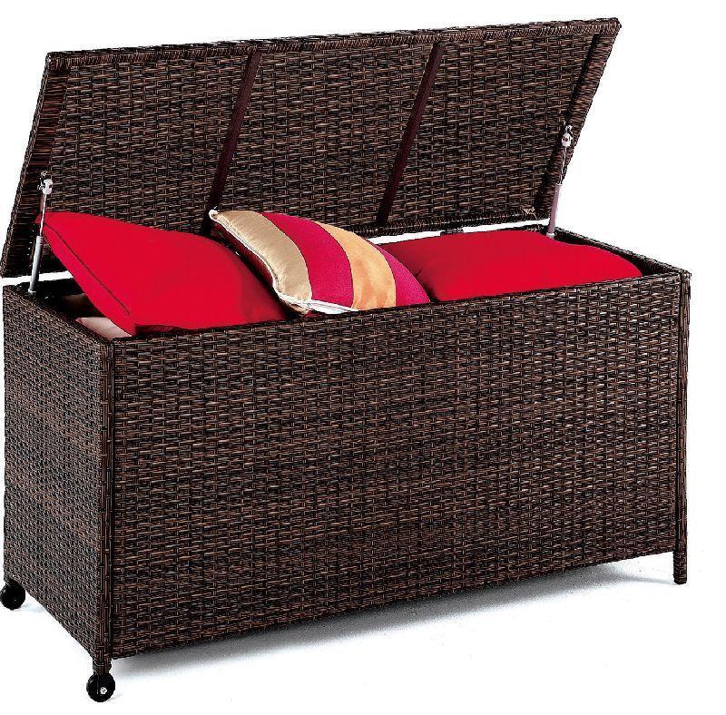coffre de jardin h v a box r sine tress e marron. Black Bedroom Furniture Sets. Home Design Ideas