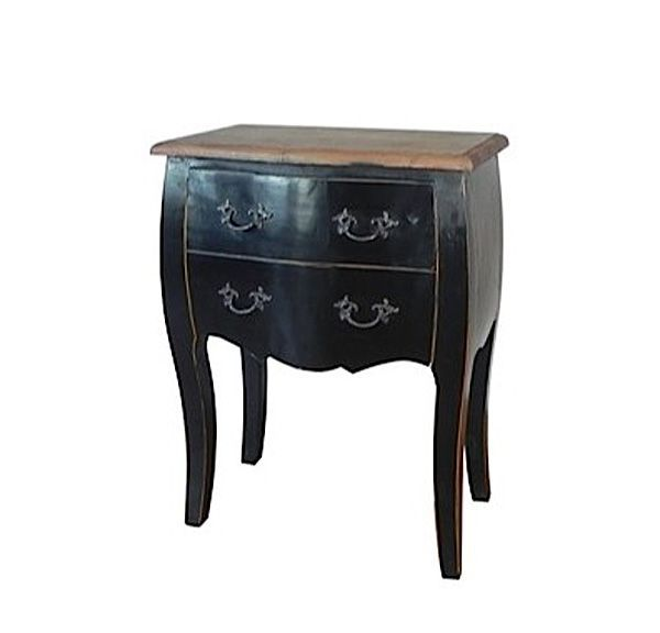 Commode orme baroque noir 2 tiroirs mobilier - Commode baroque noir ...
