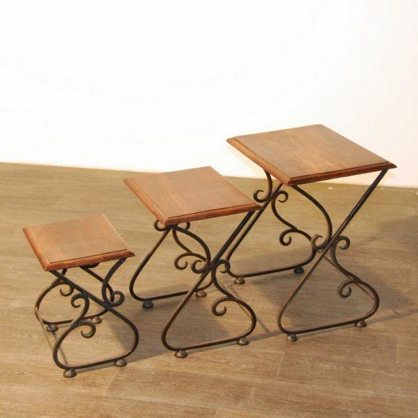 console gigogne palissandre et fer forg pm mobilier. Black Bedroom Furniture Sets. Home Design Ideas