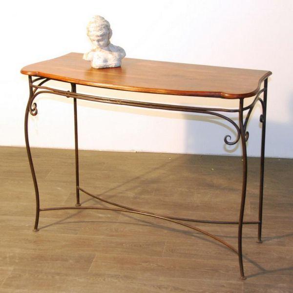 console palissandre et fer forg longueur 110 cm mobilier. Black Bedroom Furniture Sets. Home Design Ideas