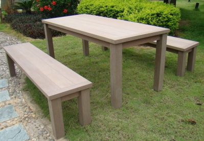 Ensemble de jardin Garden Set 1 table + 2 bancs résine aspect bois foncé