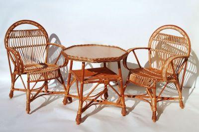 Ensemble de jardin osier naturel Amel 2 fauteuils + 1 table octogonale