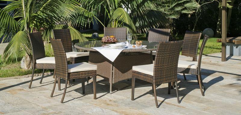 ensemble r sine tress e taniata 1 table ronde 8 chaises. Black Bedroom Furniture Sets. Home Design Ideas