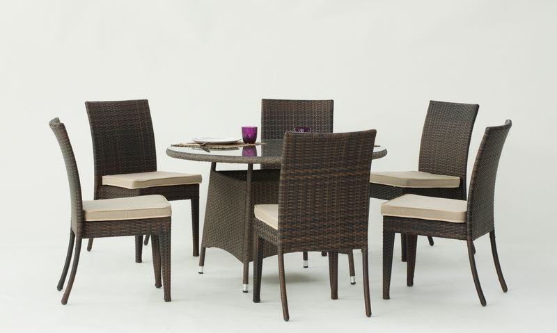 Ensemble r sine tress e tatiana 1 table ronde 6 chaises - Table ronde en resine tressee ...