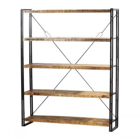 Etag re m tal et bois factory 160x40x200 - Boekenkast hout en ijzer ...