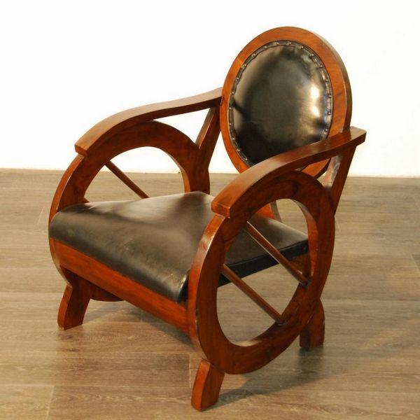 Fauteuil rond teck et cro te de cuir mobilier - Fauteuil teck et cuir ...