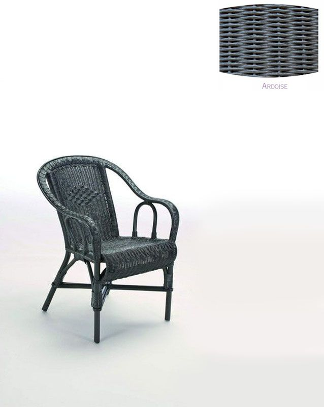 fauteuil rotin crapaud gris ardoise decotaime distribution. Black Bedroom Furniture Sets. Home Design Ideas