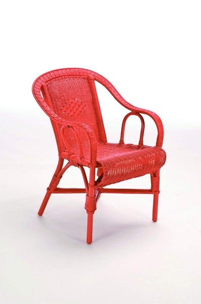 fauteuil rotin crapaud rouge corail mobilier. Black Bedroom Furniture Sets. Home Design Ideas