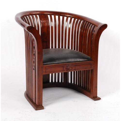 fauteuil teck et croute de cuir cl opatre. Black Bedroom Furniture Sets. Home Design Ideas