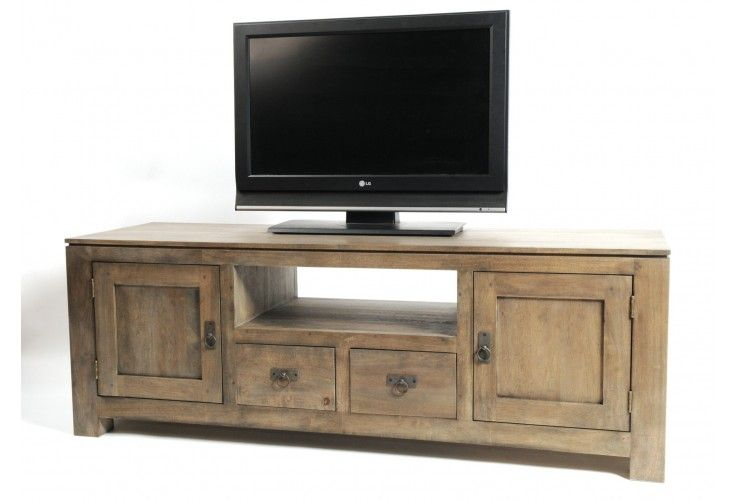 meuble tv hifi h v a gris natural 2 portes 2 tiroirs. Black Bedroom Furniture Sets. Home Design Ideas