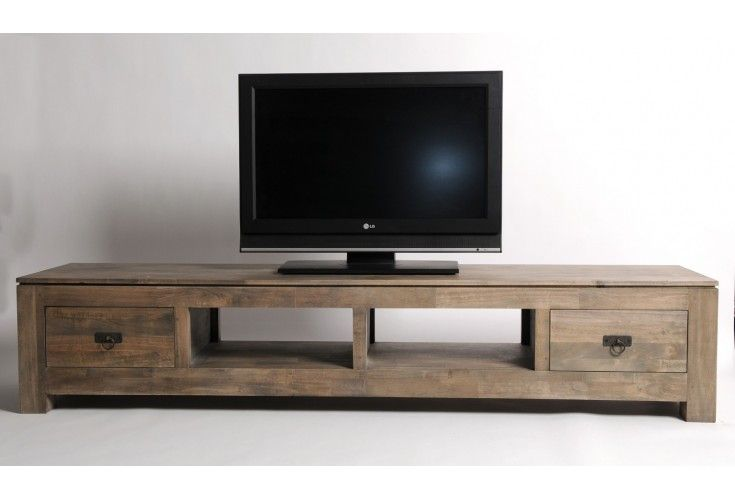 Meuble tv hifi h v a massif gris 2 tiroirs 2 niches for Meuble de tele en bois