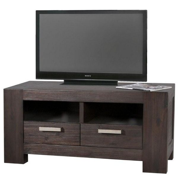 meuble tv acacia bogota 2 niches 2 tiroirs. Black Bedroom Furniture Sets. Home Design Ideas