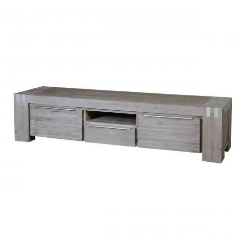 Meuble tv acacia massif dalia gris 2 portes 1 tiroir - Meuble tv acacia massif ...