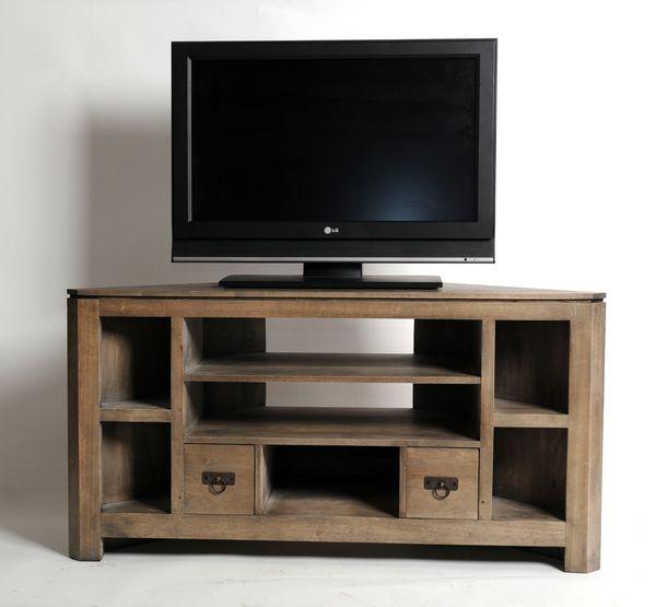 Meuble tv d 39 angle h v a massif gris 7 niches 2 tiroirs - Meuble d angle avec tiroir ...