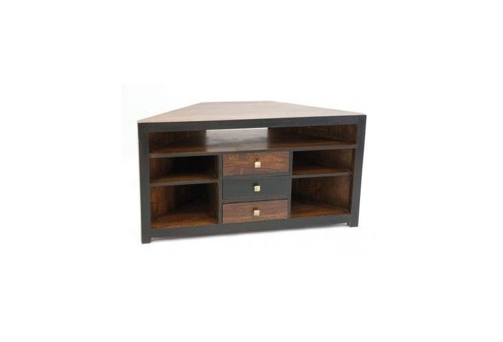 meuble tv d 39 angle palissandre massif bicolore. Black Bedroom Furniture Sets. Home Design Ideas