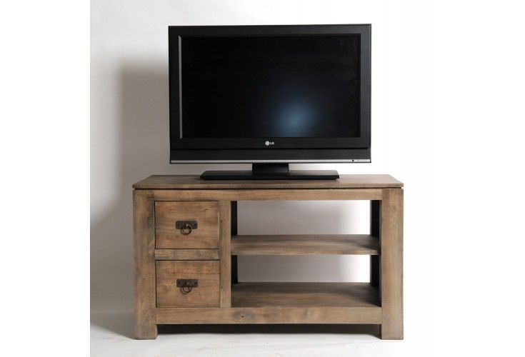 meuble tv h v a massif gris 2 tiroirs mobilier. Black Bedroom Furniture Sets. Home Design Ideas