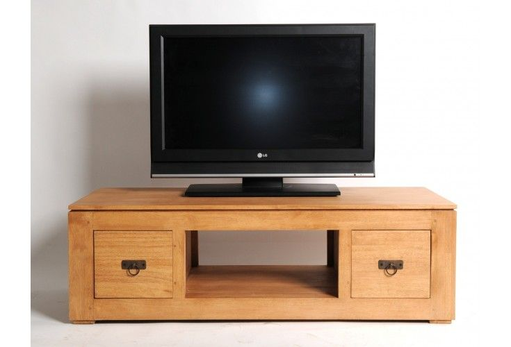 meuble tv h v a massif naturel 2 tiroirs mobilier. Black Bedroom Furniture Sets. Home Design Ideas