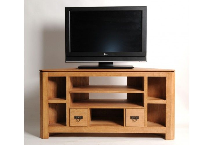 meuble tv h v a massif naturel angle 5 niches mobilier. Black Bedroom Furniture Sets. Home Design Ideas