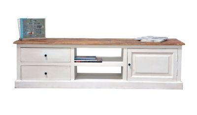 meuble tv manguier jeanne 2 tiroirs 1 porte blanc. Black Bedroom Furniture Sets. Home Design Ideas