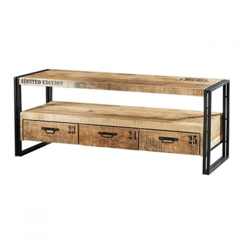 meuble tv m tal et bois factory 3 tiroirs mobilier. Black Bedroom Furniture Sets. Home Design Ideas
