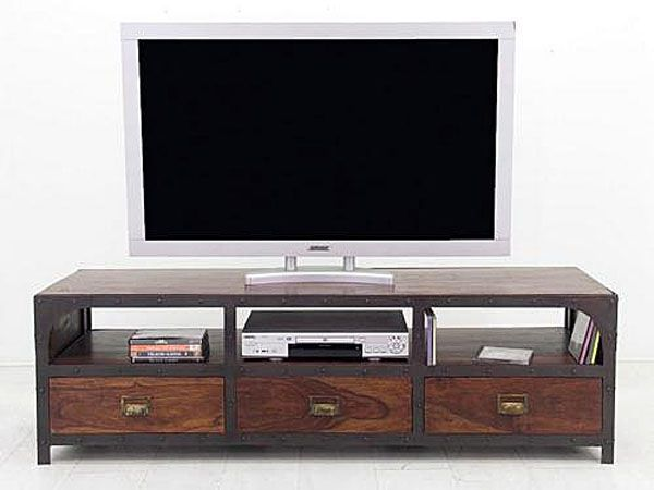 meuble tv palissandre loft 3 tiroirs mobilier. Black Bedroom Furniture Sets. Home Design Ideas