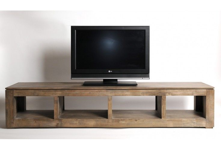 meuble tv plasma h v a massif gris 4 niches. Black Bedroom Furniture Sets. Home Design Ideas