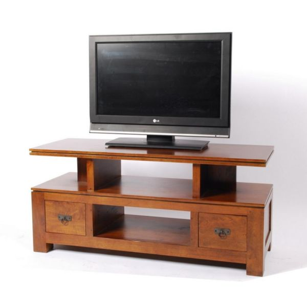 Meuble tv plasma h v a for Table de television en bois