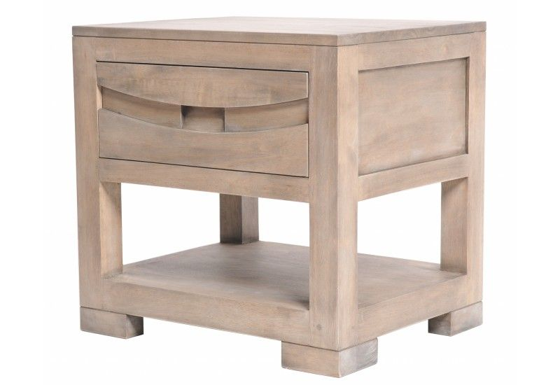 Meuble de chevet h v a 1 case 1 tiroir finition gris for Finition de meuble