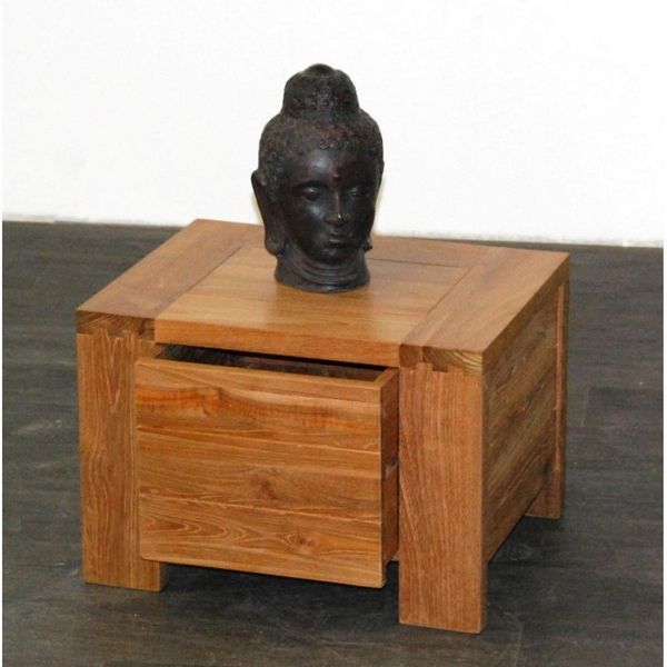 meuble de chevet teck vernis 1 tiroir. Black Bedroom Furniture Sets. Home Design Ideas