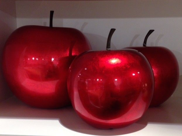 Pomme d corative finition laqu e rouge nacr mod le xs for Decoration pomme rouge