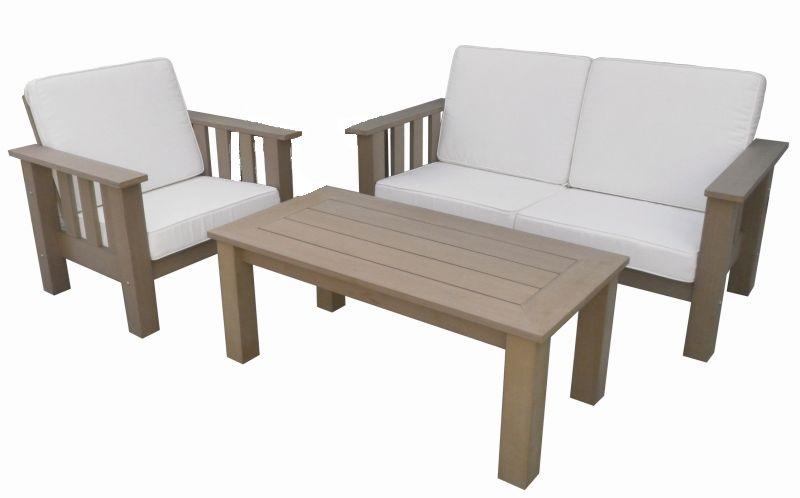 Salon de jardin brown sofa aspect bois fonc - Salon de jardin bois ...