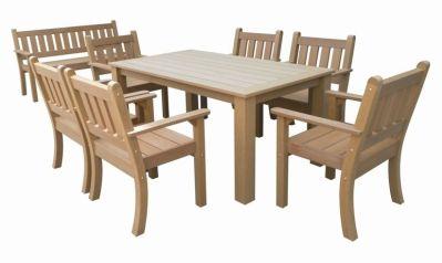 Salon de jardin Garden Set résine aspect bois foncé Table + 6 fauteuils