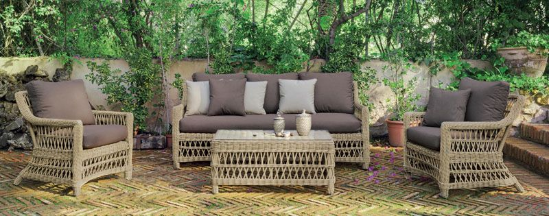 salon de jardin h v a cisne r sine tress e beige naturel 4 5 places. Black Bedroom Furniture Sets. Home Design Ideas