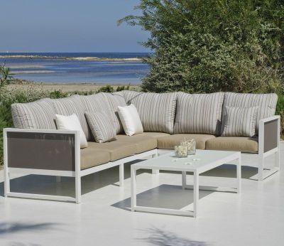 Salon de jardin Hévéa Melisa aluminium blanc 5 places