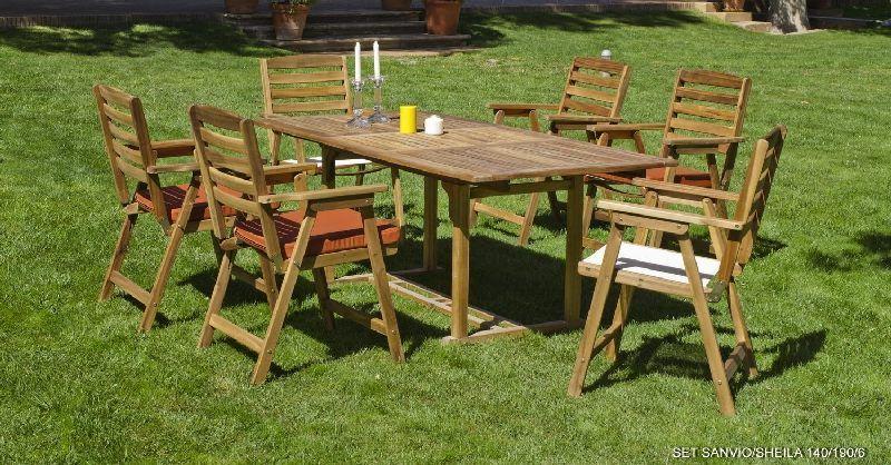 Salon de jardin acacia Sanvio / Sheila 4 places avec coussins Terracotta