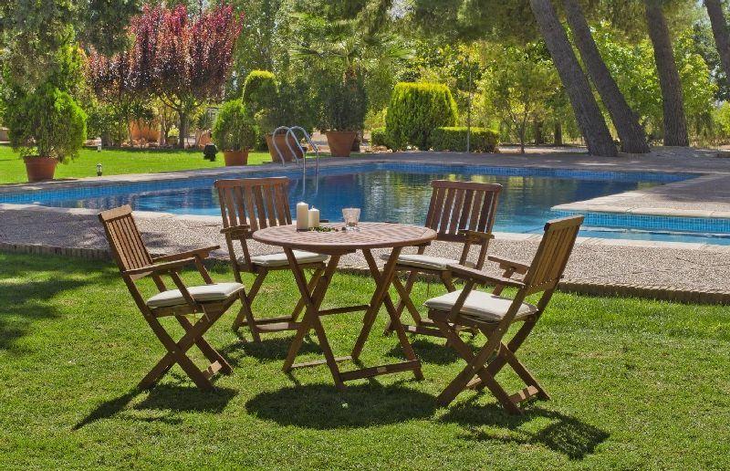 salon de jardin acacia siria 4 places avec coussins beige fonc meubles de jardin. Black Bedroom Furniture Sets. Home Design Ideas