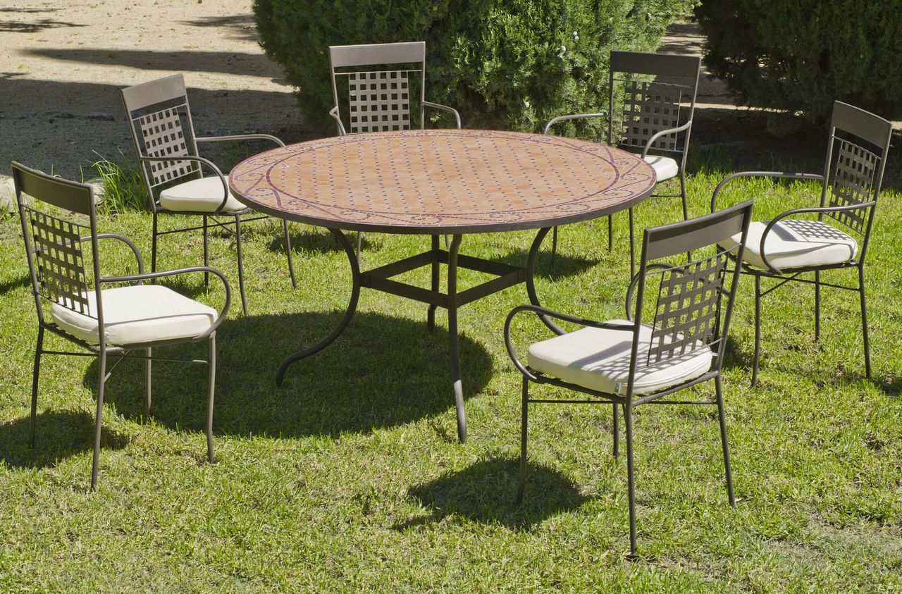 salon de jardin acier mosaique belice vigo cru 6 pls table 6 fauteuils. Black Bedroom Furniture Sets. Home Design Ideas