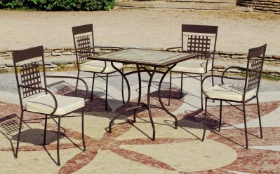 Salon de jardin acier/mosaique Karol-Saro bronze 4 places
