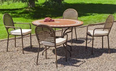 Salon de jardin acier/mosaique Lorny-Belfast 4 places table + 4 chaises
