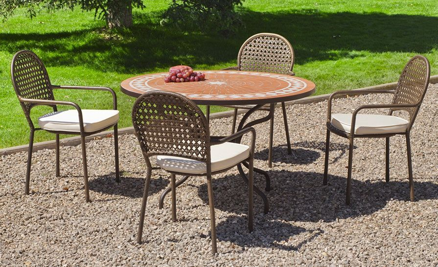 salon de jardin acier mosaique lorny belfast 4 places table 4 chaises. Black Bedroom Furniture Sets. Home Design Ideas
