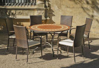 Salon de jardin acier mosaique lorny bergamo cru 6 places for Salon de jardin mosaique
