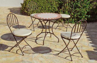 Salon de jardin acier/mosaique Salamanca-Chaben 4 places table + 4 ...