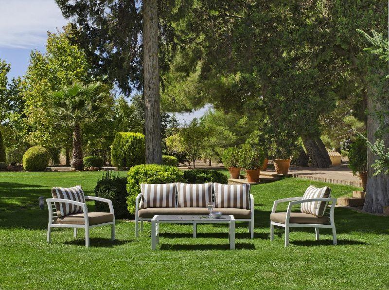 Salon de jardin aluminium Acapulco 5 places coussins conforts rayé ...