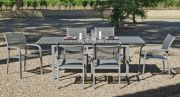 Salon de jardin aluminium Denis-Ambere 6 places 1 table 6 fauteuils